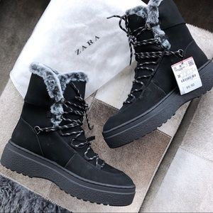 nwt | zara thick sole fur lined winter hiking boot